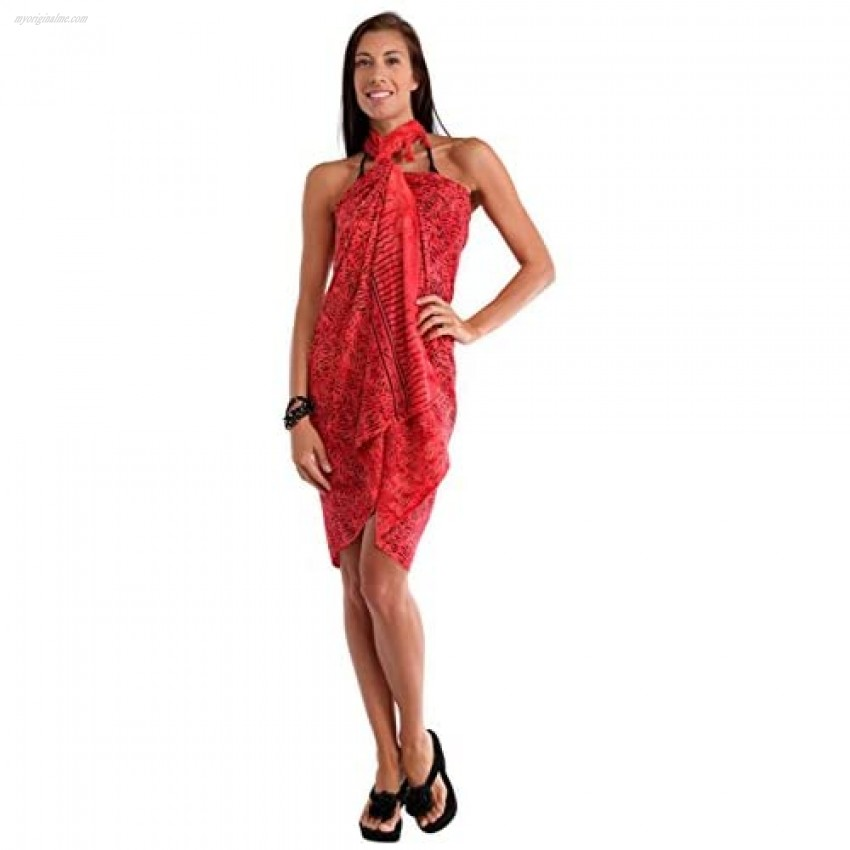 1 World Sarongs Womens Abstract Swimsuit Cover-Up Sarong in Your Choice of Color