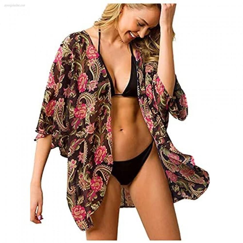 Anna-Kaci Women's Floral Open Front Short Kimono Cardigan Chiffon Beach Swim Cover Up