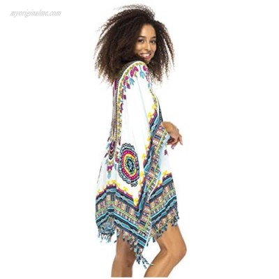 Back From Bali Womens Short Swimsuit Beach Cover Up Sequins African Patterns