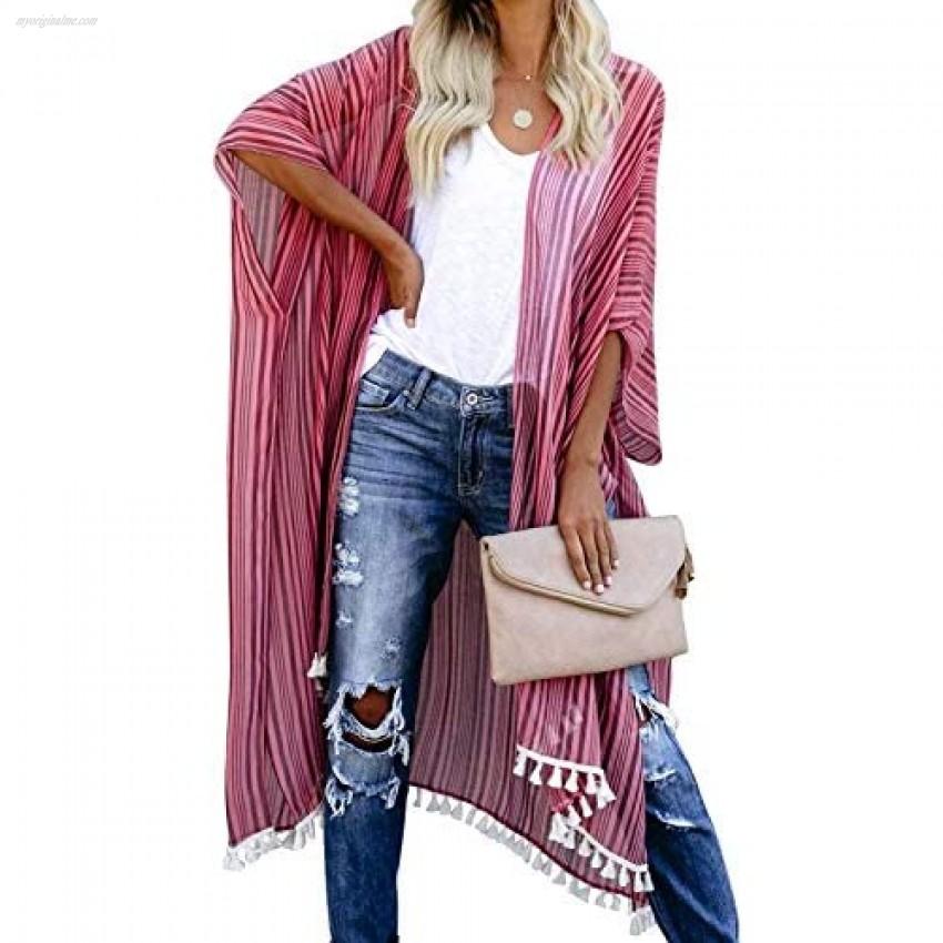 Dokotoo Womens Loose Fit Sheer Stripes Pop Pop Tassel Kimonos Casual Summer Spring Bohomian Bikini Set Cover Up Simwear Fashion Kimonos Outerwear Pink