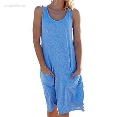 Dokotoo Women's Stylish Summer Scoop Neck Sleeveless Tshirt Dresses Casual Loose Tunic Tank Dress with Pockets Holiday Beach Cover Up Light Blue Large