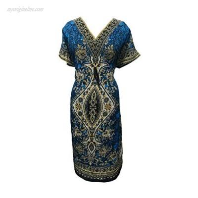 Floral Women's Kaftan Dress Ladies Long Tunic Kimono Beach Dress Cover Up Nightwear Sleepwear Summer Evening Dress Long Caftan Night Gown V-Neck Cover Up Polyester Floral Kaftan Free Size Teal