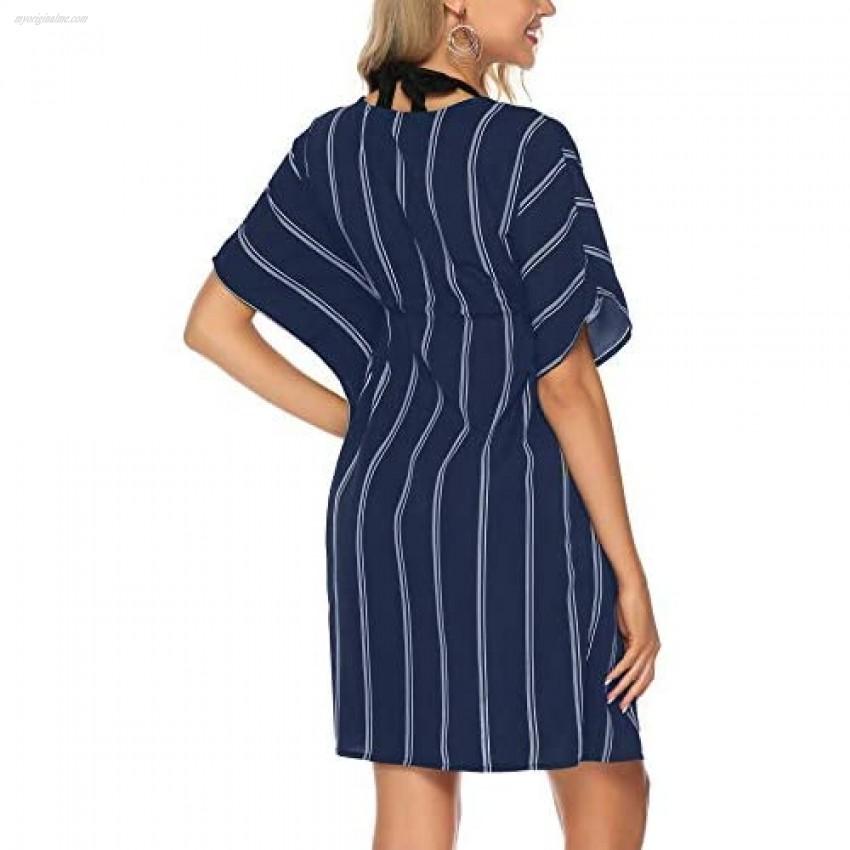 iClosam Women Cover Up Dress Short Sleeve V Neck Beach Cover Up Swimwear Cover Dress