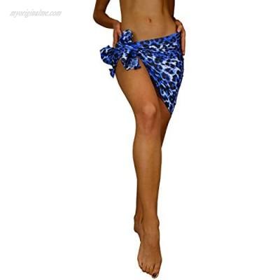 KING KAMEHA Funky Hawaiian Cover-up Pareo Sarong Print Leopard Blue Small