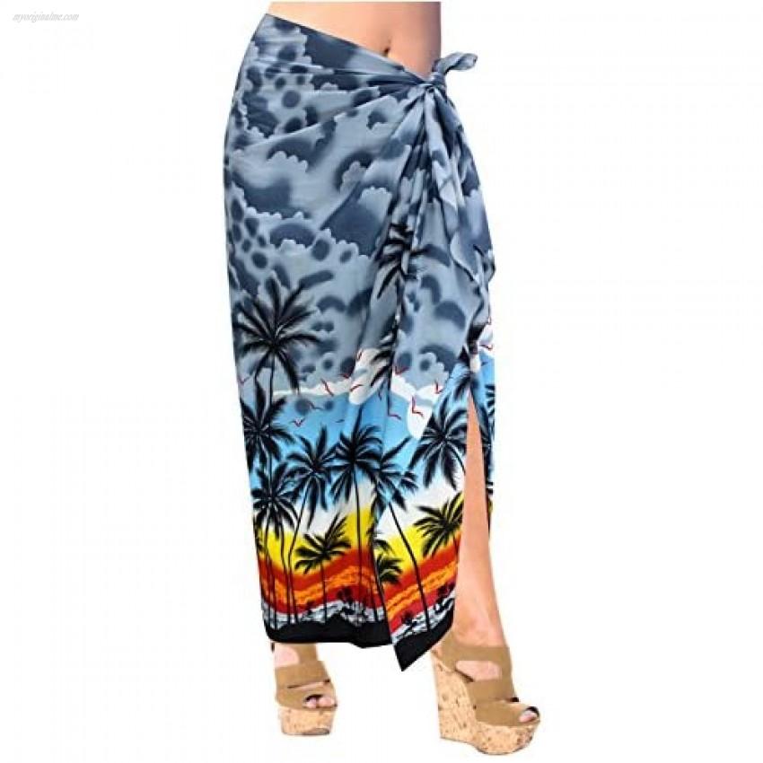 LA LEELA Men's Full Pareo Swimsuit Beach Swimwear Wrap Lava Lava Sarong Vacation