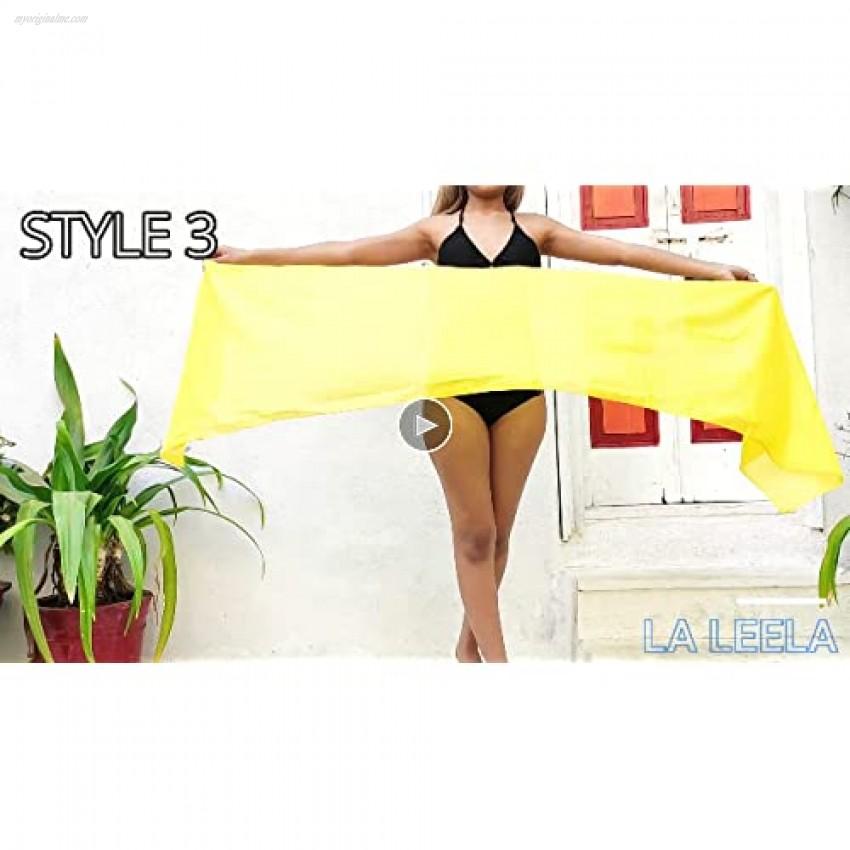 LA LEELA Shawls Scarves Scarf Women's Pareo Swimsuit Beach Swimwear Wrap Bikini Sarong Solid Plain A