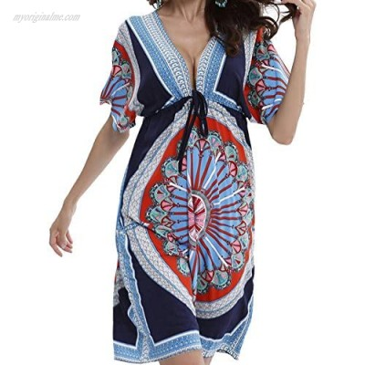 Miracle Women V-Neck Cut Loose Bathing Suit Swimsuit Cover Ups Beach Dress (US 6-12)