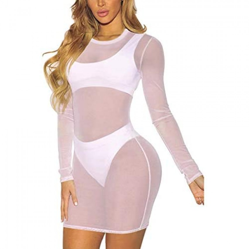 Staceyclo Women's Sexy Swimsuit Cover Ups Casual See Through Sheer mesh Long Sleeve Dresses for Swimwear