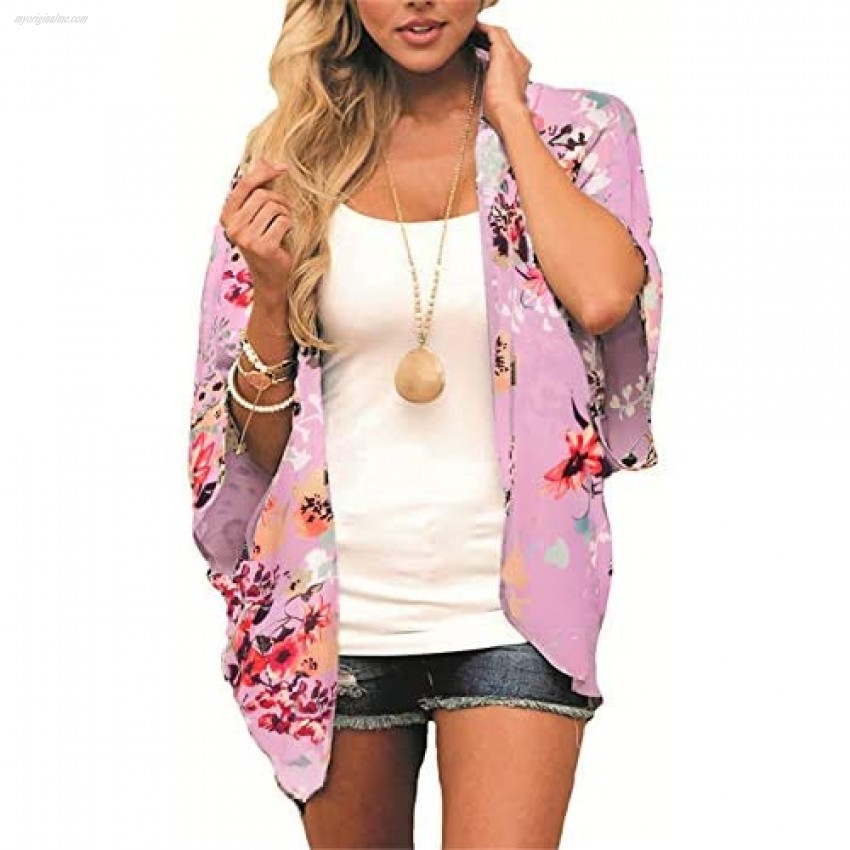 Summer Floral Kimono Cardigan for Women Beach Cover Up Casual Blouse Tops