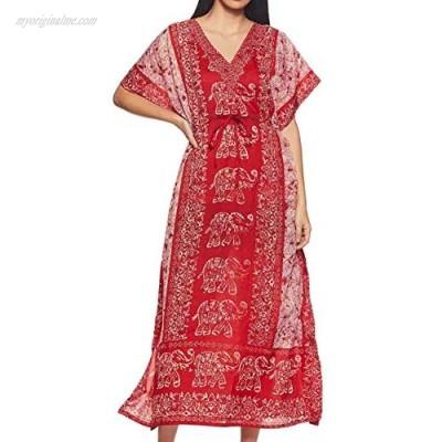 Ukal Women Ladies Oversized Maxi Kimono Loungewear Nightwear Kaftan Tunic Caftan Nightgown Sleepwear House Dress (Free Size)