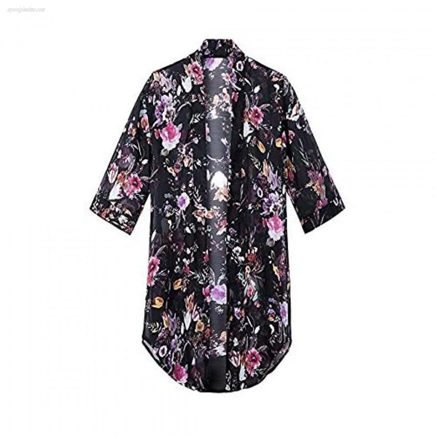 Women's Floral Chiffon Kimono Cardigan Summer Blouse Swimsuit Beach Cover up