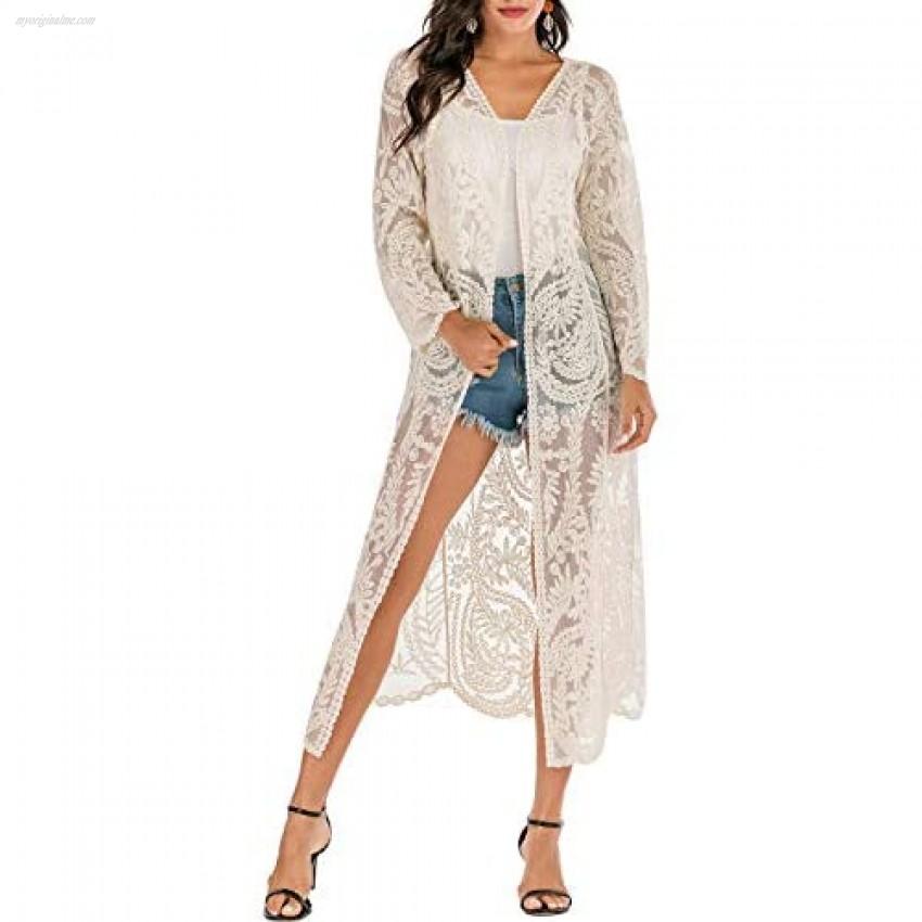 Women's Lace Cardigan Long Bathing Suit Cover Up Maxi Boho Sheer Kimono