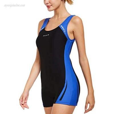BALEAF Women's Athletic Boy Short One Piece Swimsuit Colorblock Sports Swimwear