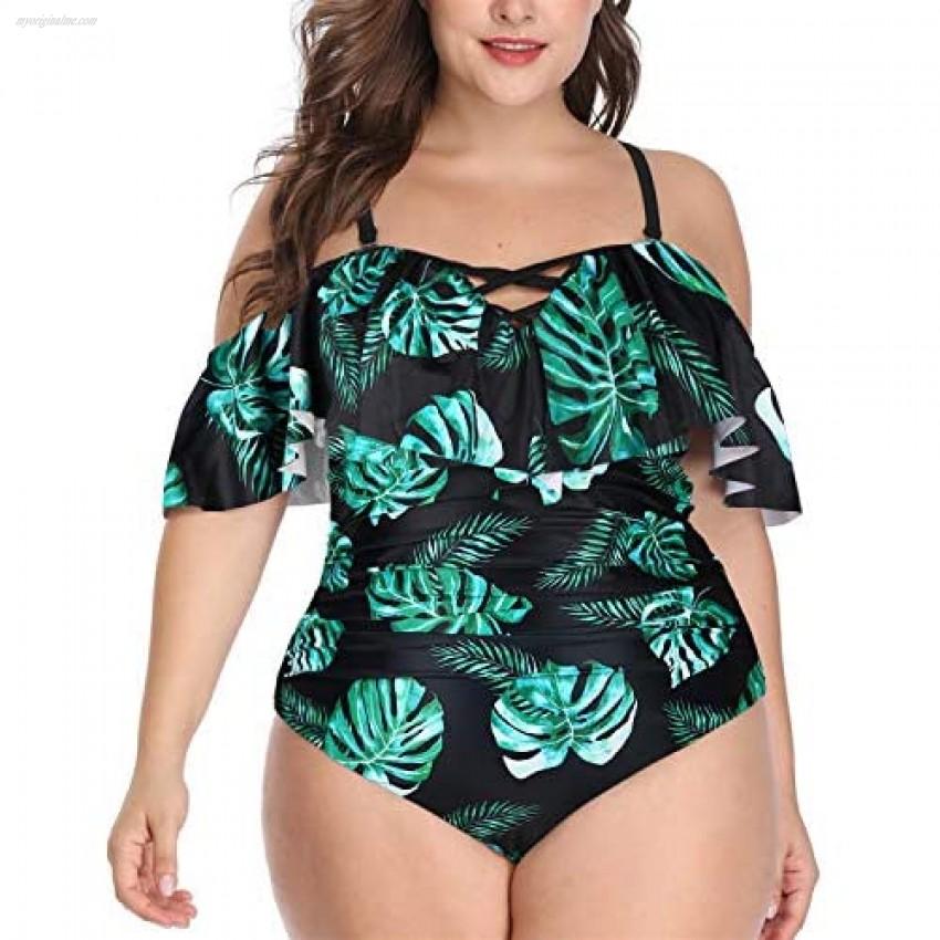 Daci Women Plus Size One Piece Swimsuits Tummy Control Flounce Off Shoulder Bathing Suits