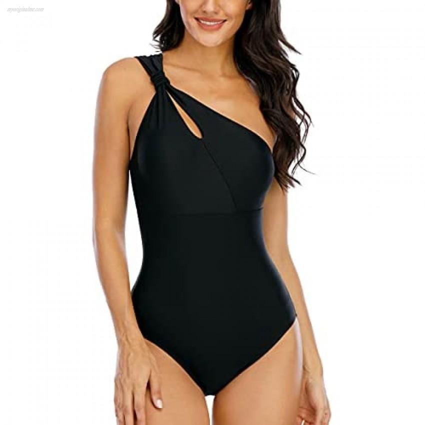 Halcurt Women's One Piece Swimsuits One Shoulder Bathing Suit