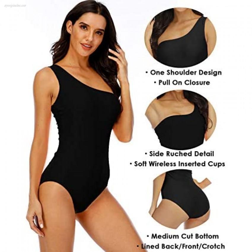 Halcurt Women's One Shoulder Bathing Suit One Piece Retro Monokini Swimsuit