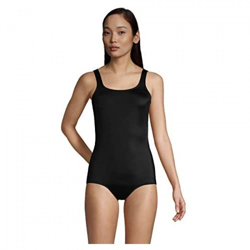 Lands' End Womens Chlorine Resistant Tugless Tank Soft Cup One Piece Swimsuit Black Regular 10