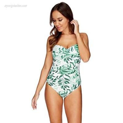 Nip Tuck Swim Oasis Green Twist Front Design Tummy Control One Piece Swimsuit