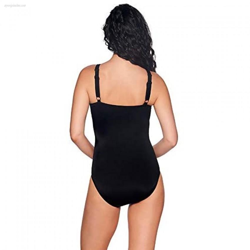 Reebok Women's Swimwear Sport Fashion Core Essence High Neckline One Piece Swimsuit Blue 12