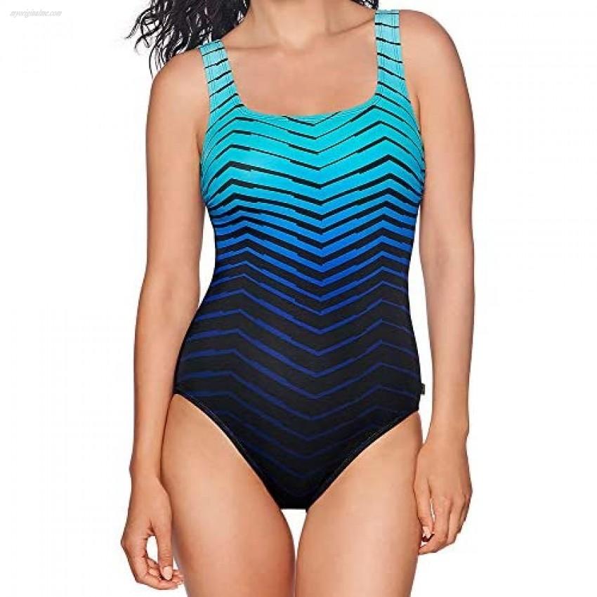 Reebok Women's Swimwear Sport Fashion Prime Performance Scoop Neck One Piece Swimsuit Blue 08
