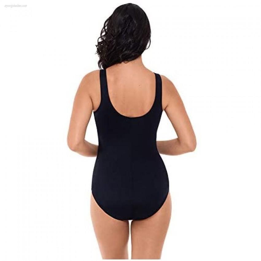 Reebok Women's Swimwear Sport Fashion Radiant Energy Bust Minimizing Square Neck Soft Cup One Piece Swimsuit Blue 10