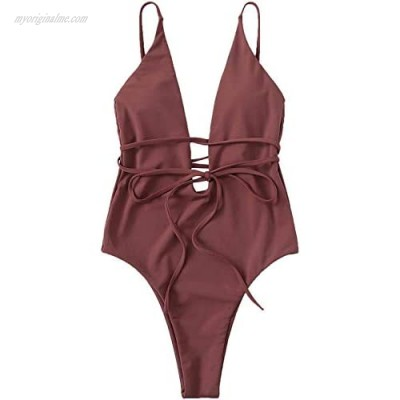 SOLY HUX Women Sexy Criss Cross One Piece Swimsuit Front Deep V Open Plunge Belted Low Back Padded Strappy Bandage Swimwear