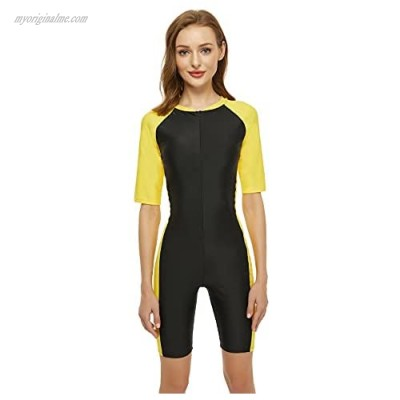 Swimsuit for Women One Piece Short-Sleeve Surfing Suit Sun Protection