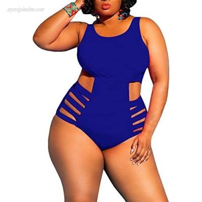 YONYWA Womens One Piece High Waist Plus Size Swimsuits Sexy Tummy Control Bandage Swimwear