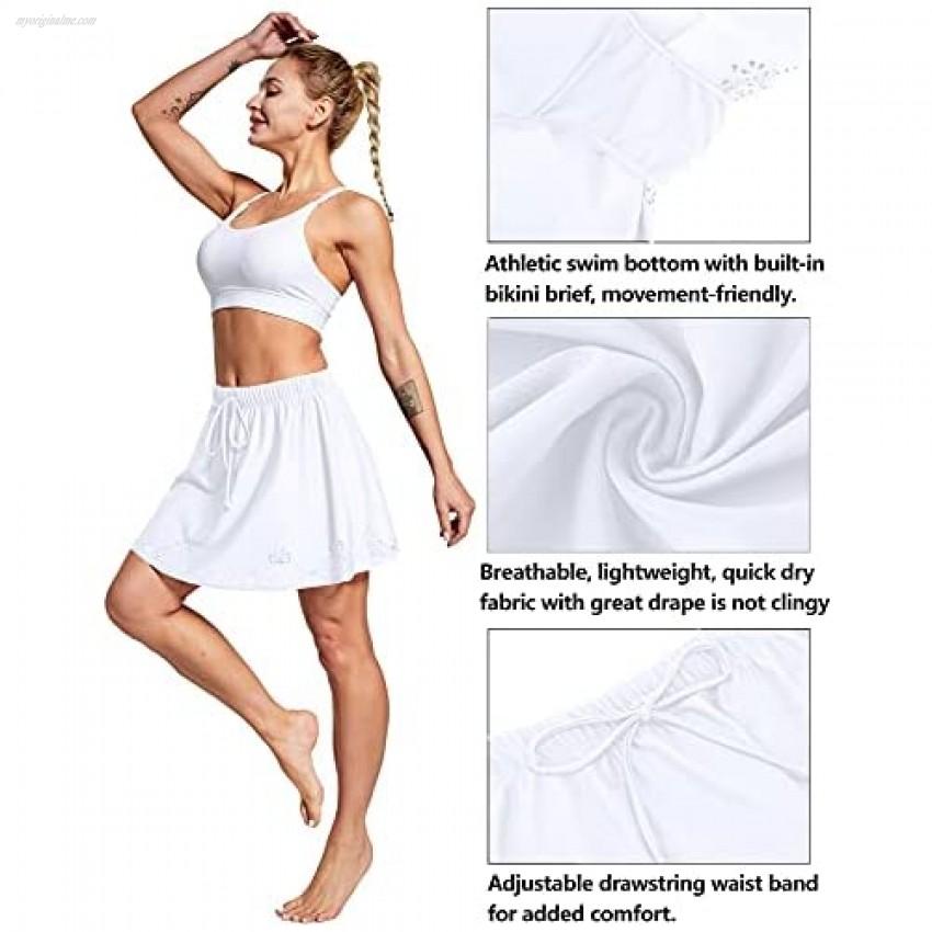 ChinFun Women's High Waisted Swim Skirt Plus Size Bikini Tankini Drawstring Swimsuit Bottoms Built in Briefs