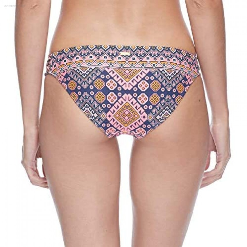 EIDON Women's Updated Low Rider Mid Rise Bikini Bottom Swimsuit with Side Knot Detail