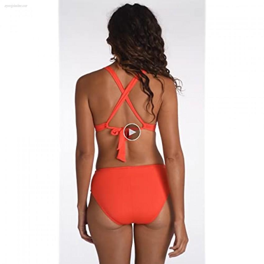 La Blanca Women's Island Goddess Banded Mid Waist Pant Bikini Swimsuit Bottom