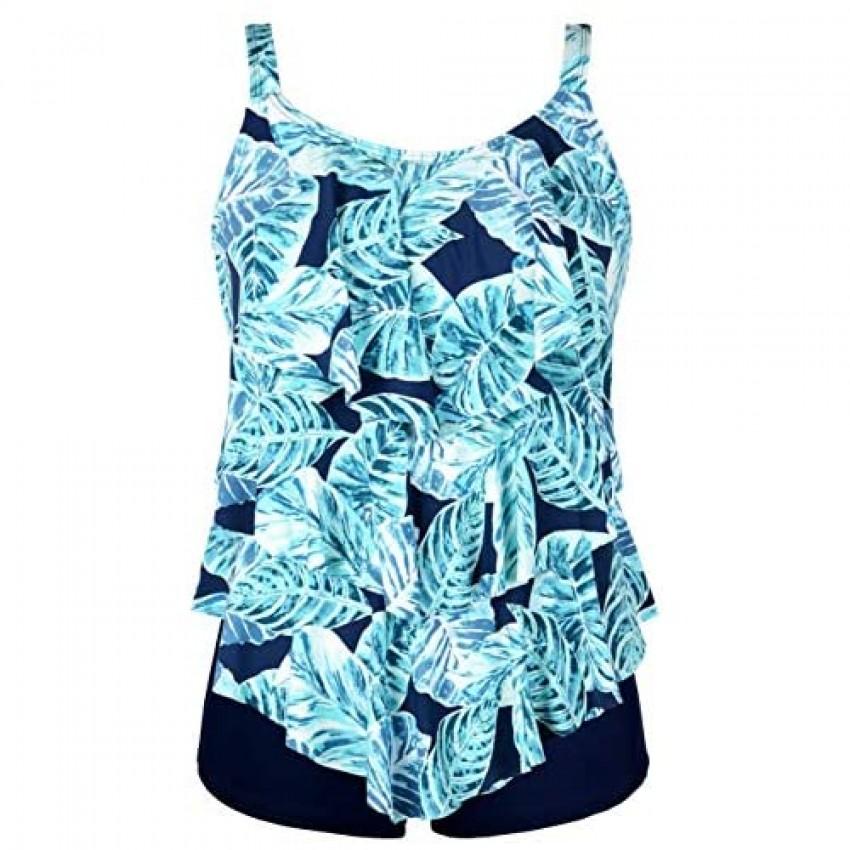 Septangle Women's Tankini Swimsuit Two Pieces Set Ruffle Swimwear Bathingsuit with Boyshort