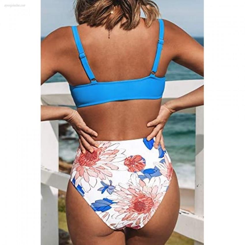 CUPSHE Women's High Waist Bikini Swimsuit Floral Knot Cutout Two Piece Bathing Suit