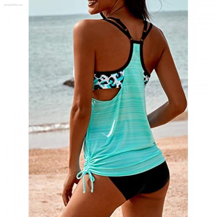 Dokotoo Swimsuit for Women Floral Printed Drawstring Swimwear Two Piece Bathing Suits