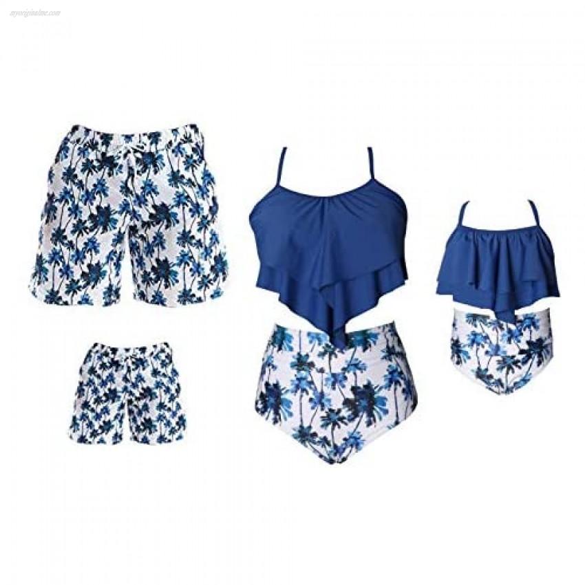Family Matching Swimwear Set Mother Daughter Bikini Swimsuits Father Son Swim Trunk Bathing Suit