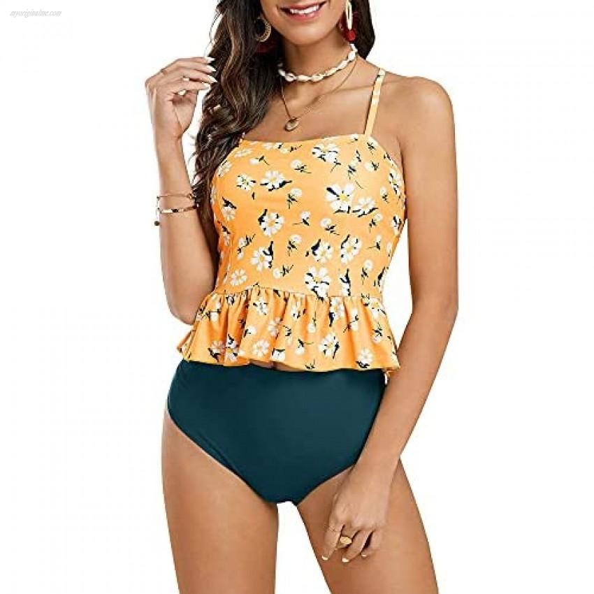 FERBIA Women Falbala Bikini Set Halter High Waisted Swimsuit 2 Piece Ruffle Tummy Control Peplum Spaghetti StrapTankini