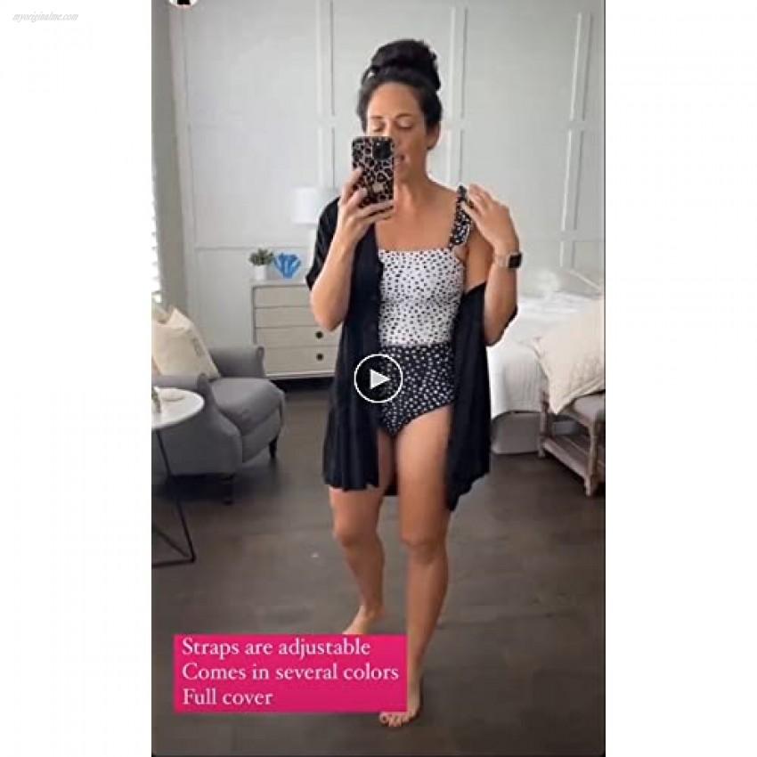 Foshow Womens Ruffle Print Bikini Set Polka Dot High Waisted Two Piece Swimsuits Tummy Control Flounce Bathing Suit Tankini