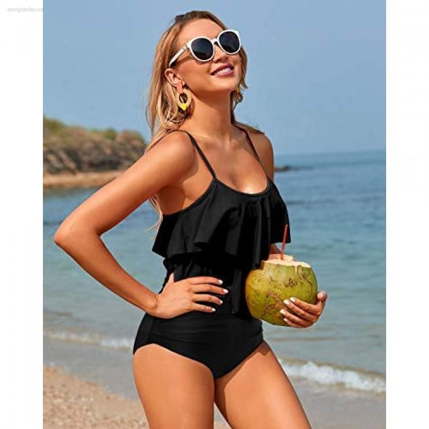 Holipick Tankini Swimsuits for Women High Waisted Bikini Two Piece Swimsuit Flounce Tummy Control Bathing Suits