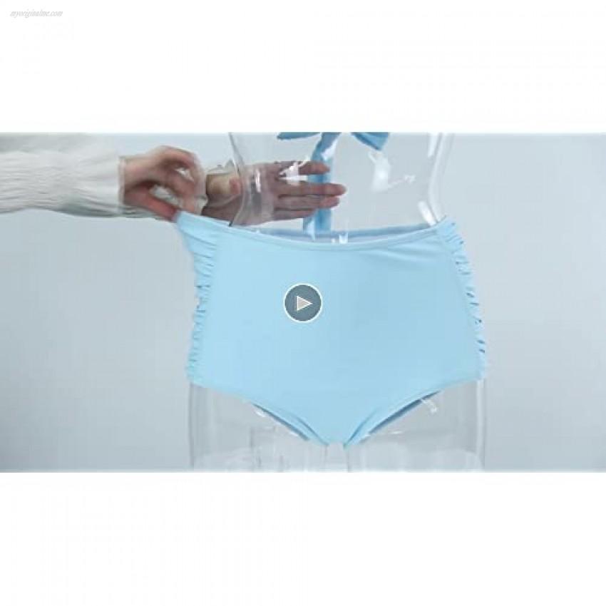Peddney Flounce High Waisted Bikini Swimsuit for Women V Neck Ruffle Bikini Swimsuit