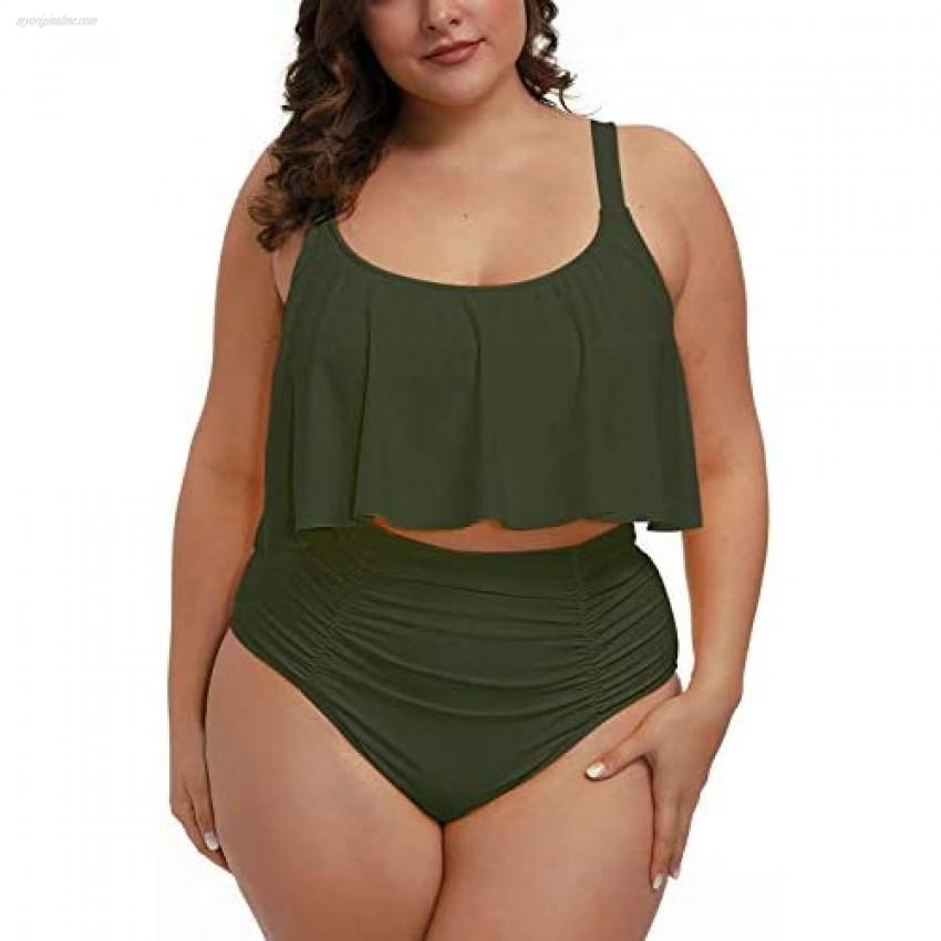 Pink Queen Women Plus Size 2 Piece Bikinis Tummy Control Floral Print Ruffle Swimsuits