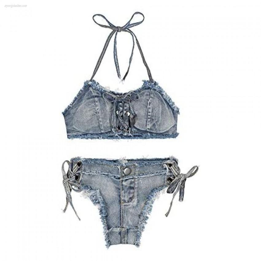 RuoFeng Women's Denim Bikini Set with Jeans Shorts and Bra for Beach Play and Bar Nightclub Performance