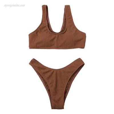 SOLY HUX Women's Swimwear Scoop Neck Bikini Bathing Suit 2 Piece Swimsuits