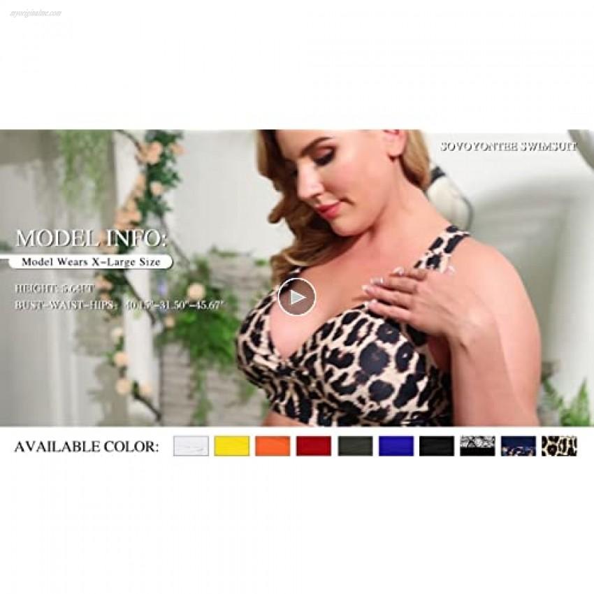 Sovoyontee Women's 2 Piece Plus Size High Waisted Swimsuit Triangle Bikini Set Bathing Suit