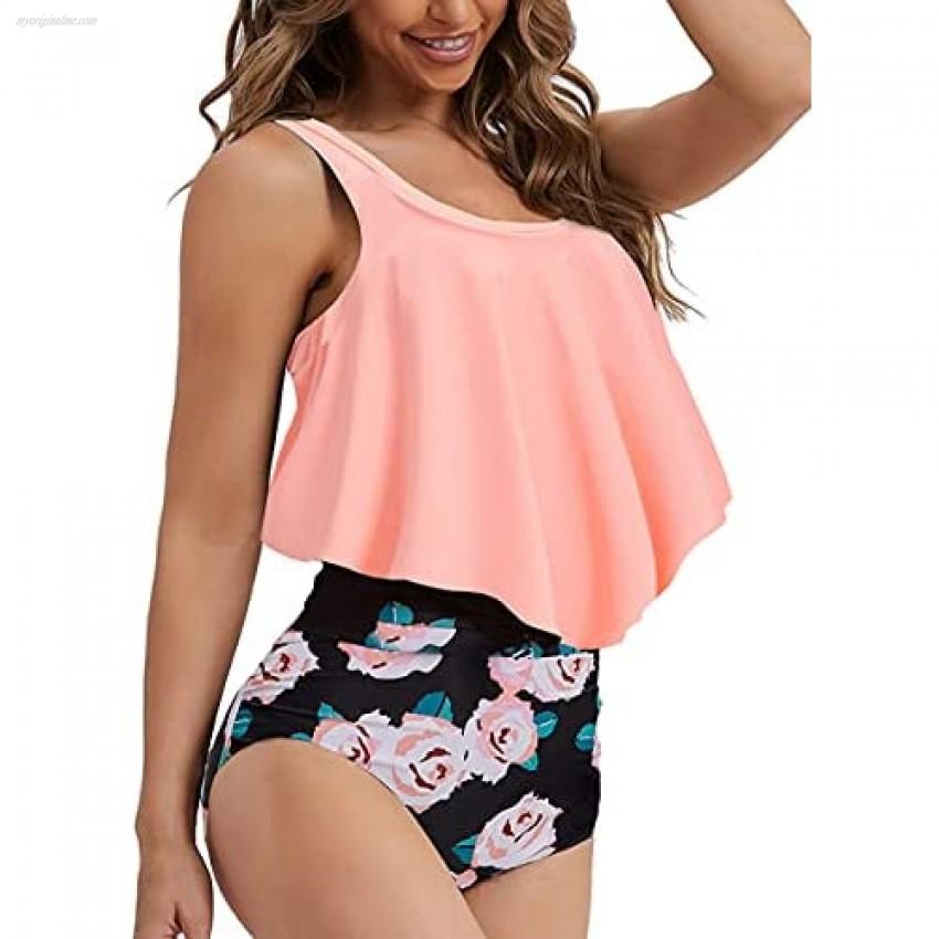 Summer Mae Womens Floral Printed Ruffle High Waisted Bikini Set Womens Tummy Control Bathing Suit Swimsuit Flounce Peplum