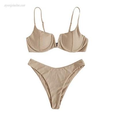 Verdusa Women's Underwire Bra High Cut Bikini Set Beach Two Piece Bathing Suit