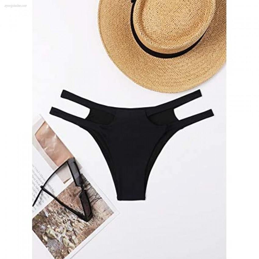 Romwe Women's Cheeky Cutout Side Low Waist Brazilian Bikini Swimsuit Bottom