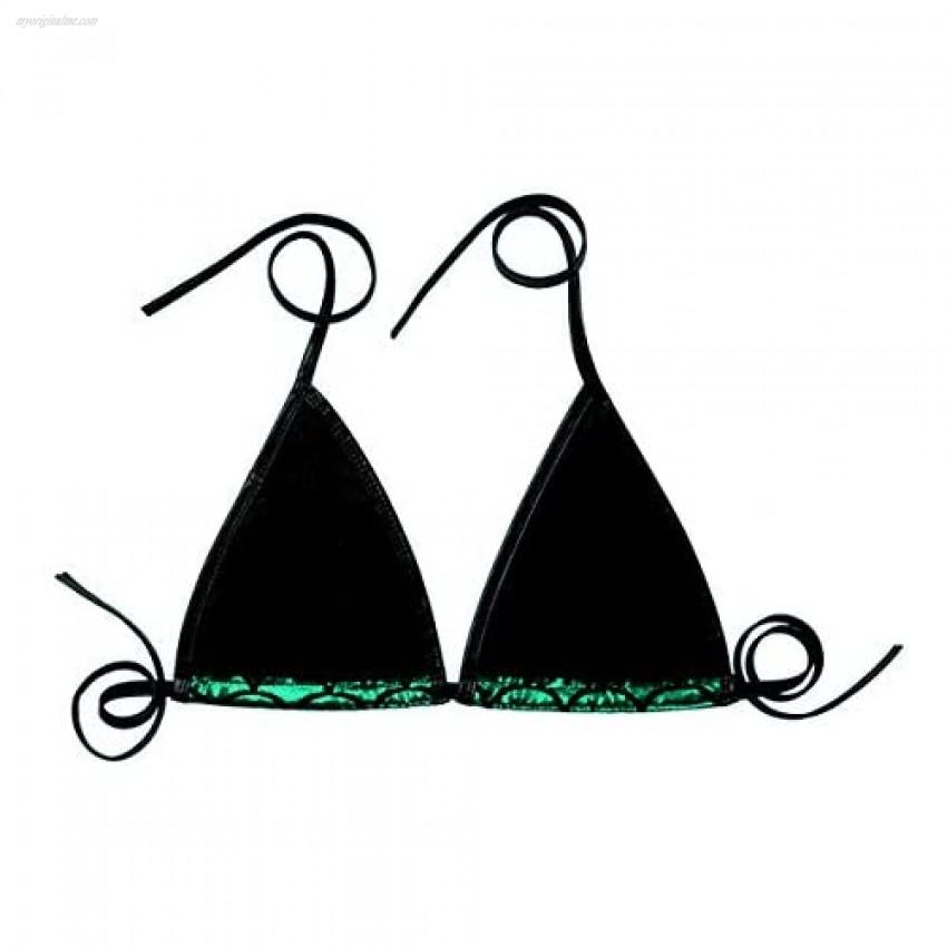 easyforever Women Shiny Mermaid Fish Scale Print Halter Strappy Bikini Bralett Bra Swimsuit Top