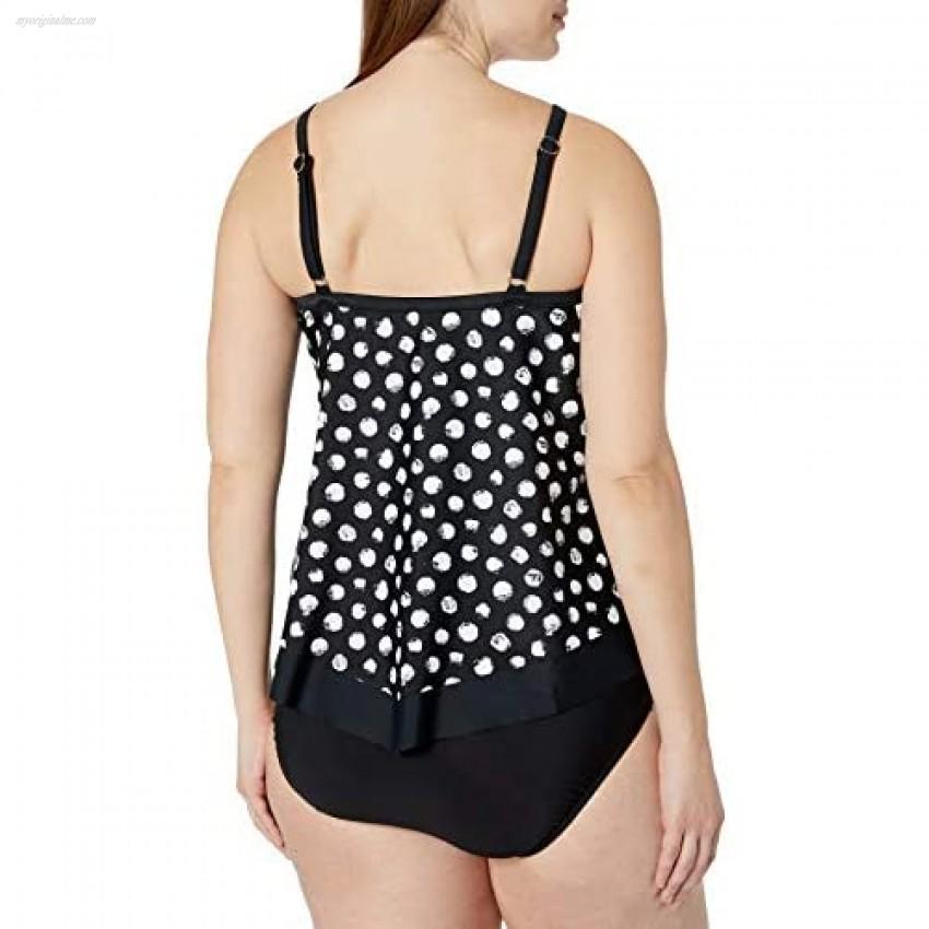 Maxine Of Hollywood Women's V-Neck Flutter Tankini Swimsuit Top