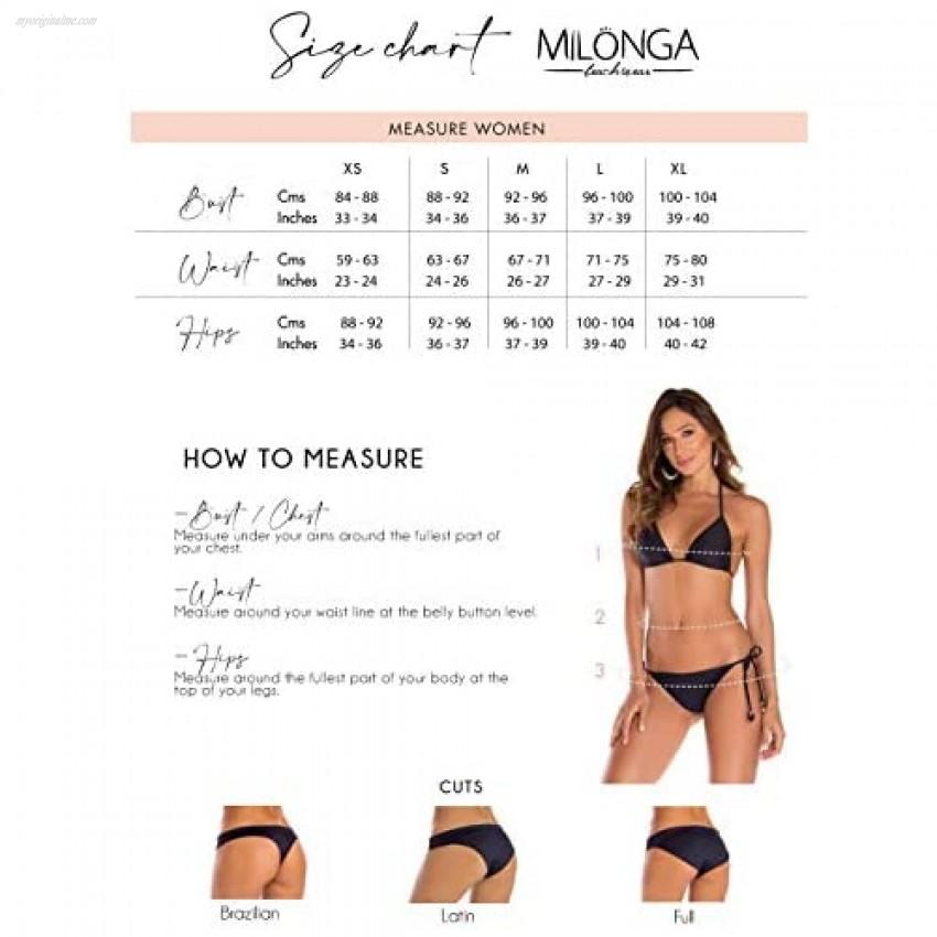 MILONGA Bikini.Halter top Removable Pads.Full Coverage Bottom Internal Lining
