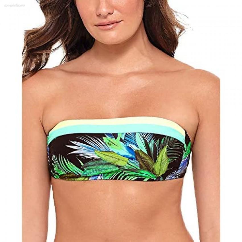Salt + Cove Womens Juniors Tropic Glo Bandeau Floral Swim Top Separates